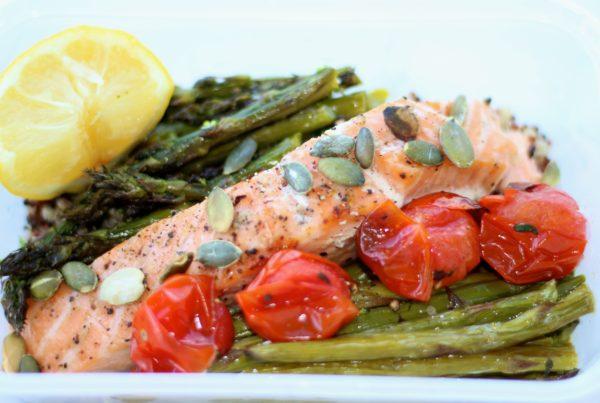 Lemon Salmon with Asparagus & Quinoa
