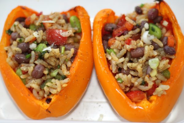 Roasted Pepper stuffed with Rice & Bean Salad