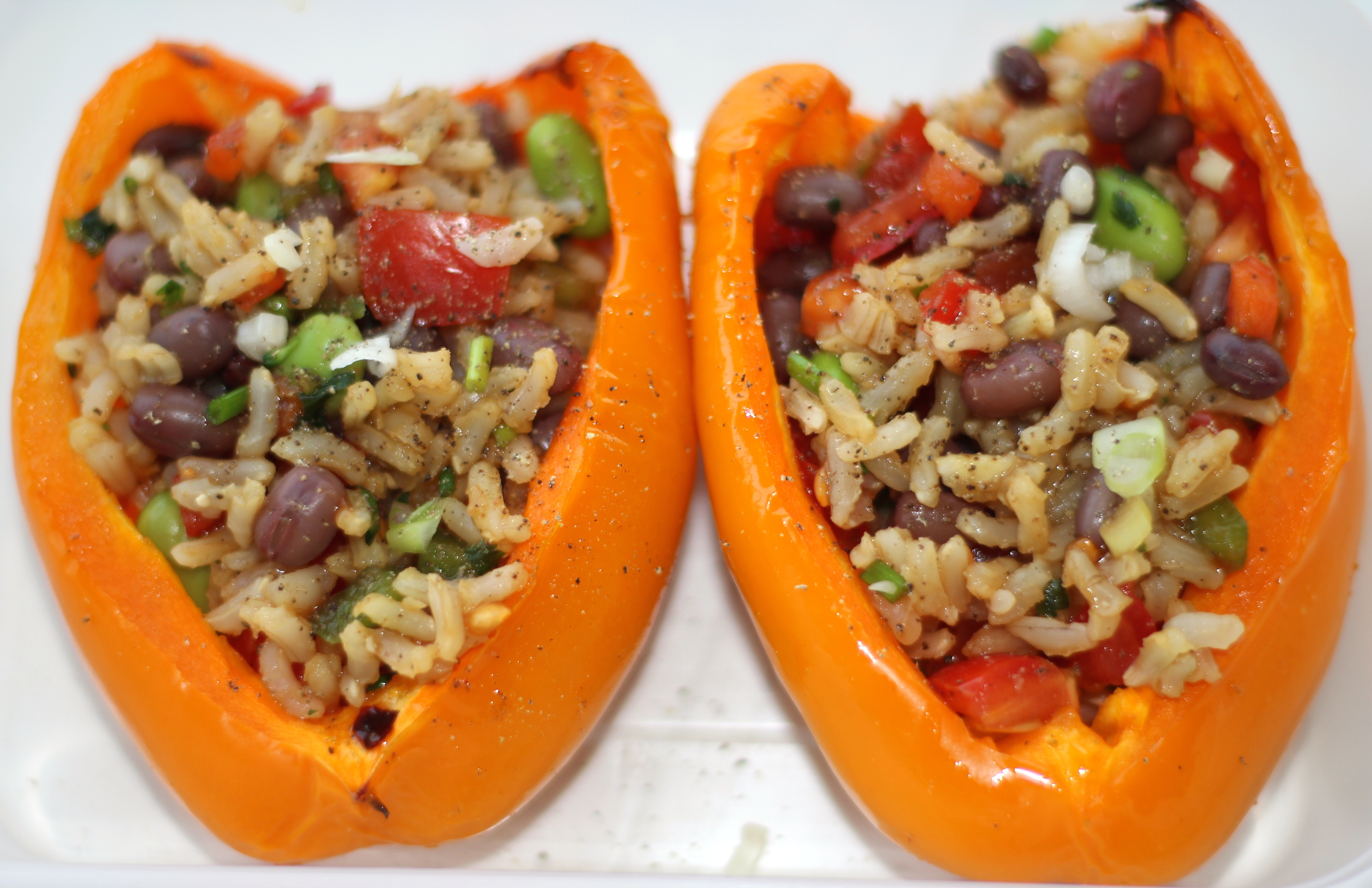 ROASTED PEPPERS STUFFED WITH RICE SALAD